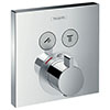 hansgrohe ShowerSelect Thermostatic Mixer for Concealed Installation for 2 Outlets - Chrome - 15763000 profile small image view 1