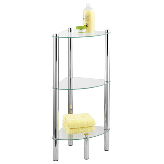 Wenko Yago Household and Bath 3 Tier Corner Shelf - Chrome - 15850100 profile large image view 1