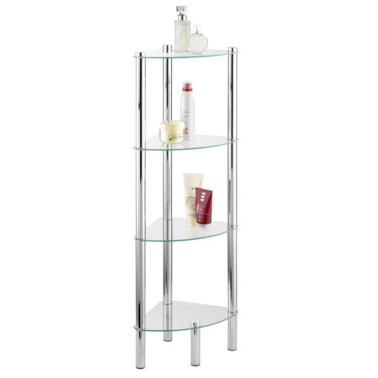 Wenko Yago Household and Bath 4 Tier Corner Shelf - Chrome - 15852100 profile large image view 1