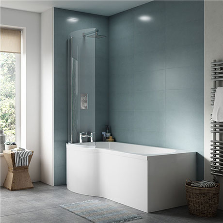 Concerto P Shaped Small Shower Bath - 1500mm with Screen + Panel