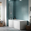Cruze P Shaped Shower Bath - 1500mm with Screen & Panel profile small image view 1