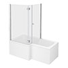 Milan Shower Bath Enclosure - 1500mm L-Shaped inc. Hinged Screen + Panel profile small image view 1