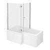Milan Shower Bath Enclosure - 1500mm L-Shaped Inc. Hinged Screen + Panel profile small image view 1