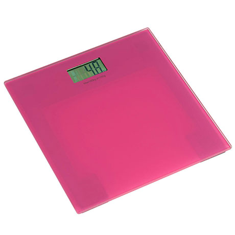 Pink Tempered Glass Bathroom Scale