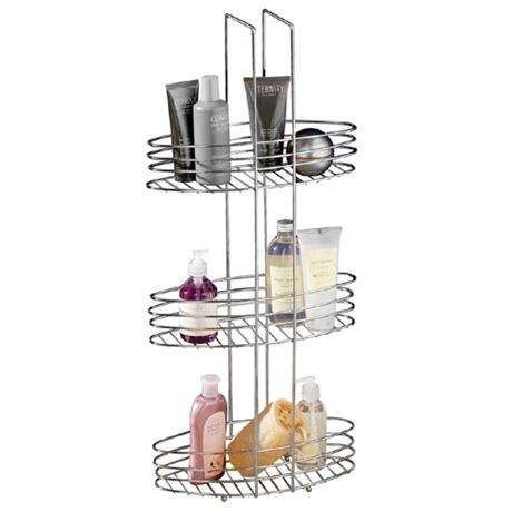 3 Tier Chrome Bathroom Storage Rack Oval Shelves - 1600531