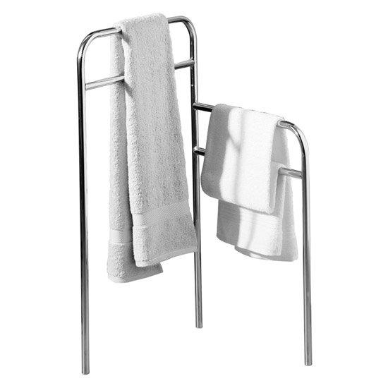 Chrome Tubular Floorstanding Towel Rail - 1600547 Large Image