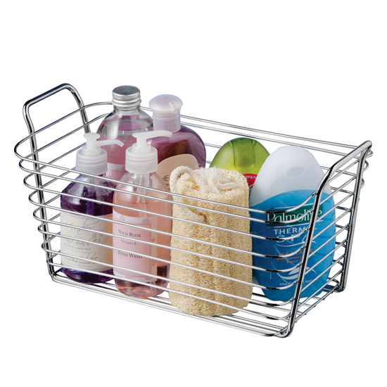 Rectangular Chrome Caddy with Handles