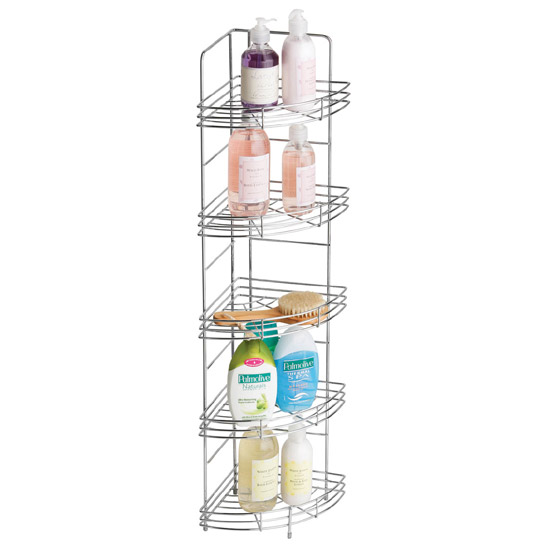 Chrome 5 Tier Wire Corner Storage Rack - 1600559 profile large image view 1