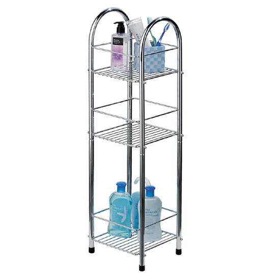 Chrome 3 Tier Bathroom Stand Small/Narrow - Freestanding - 1600730 profile large image view 1