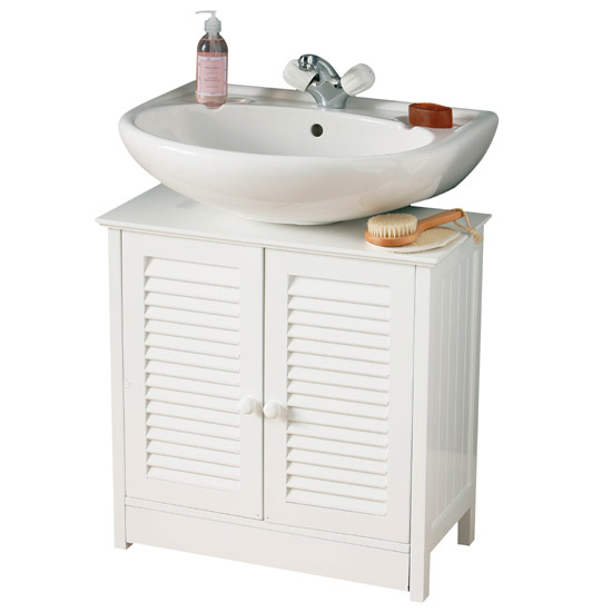 White Wood Double Shutter Door Under Sink Cabinet - 1600903 Large Image