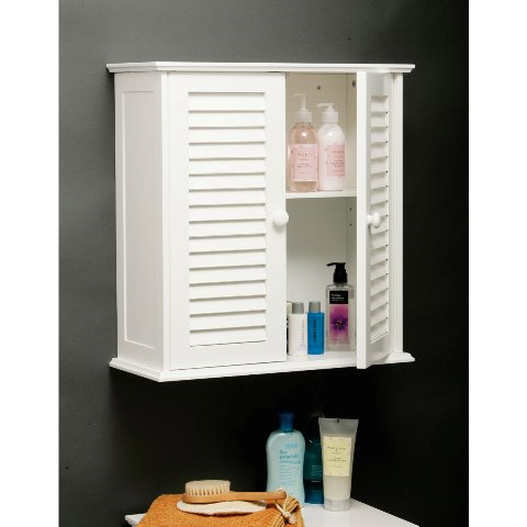 White Wood Double Shutter Door Bathroom Wall Cabinet - 1600904 Profile Large Image