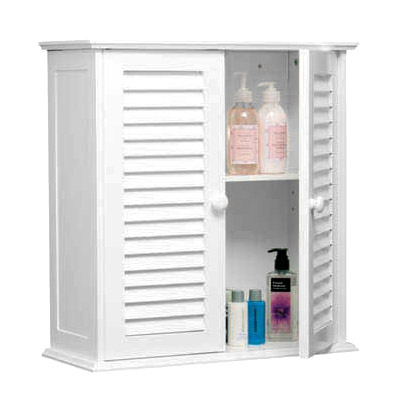 White Wood Double Shutter Door Bathroom Wall Cabinet - 1600904 Large Image