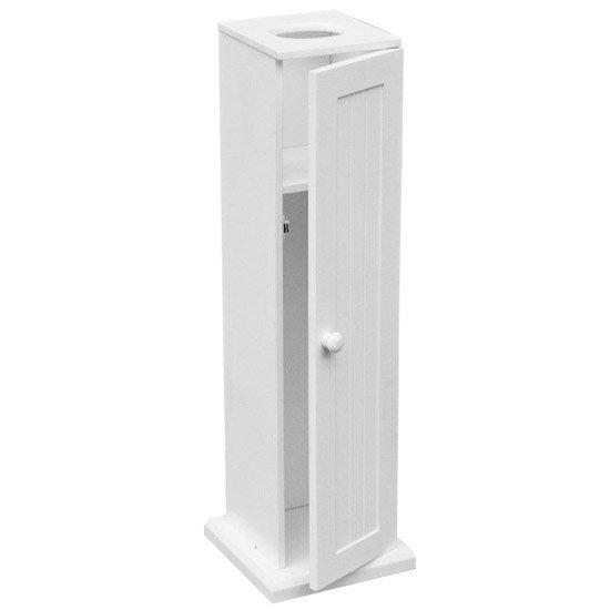 White Wood Floor Standing Toilet Paper Cabinet - 1600950