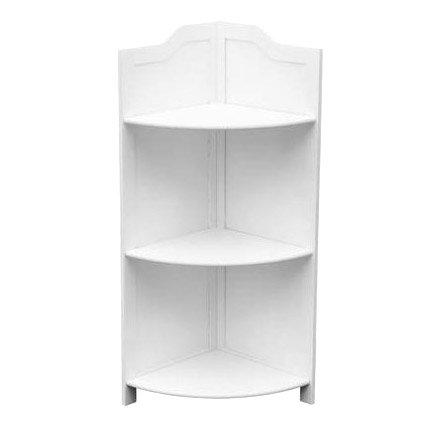 3 tier white wood floorstanding corner shelf unit - White bathroom corner shelf unit ...