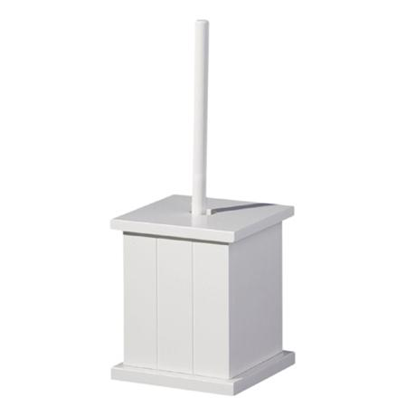 White Wooden Toilet Brush Holder with Brush - 1600958