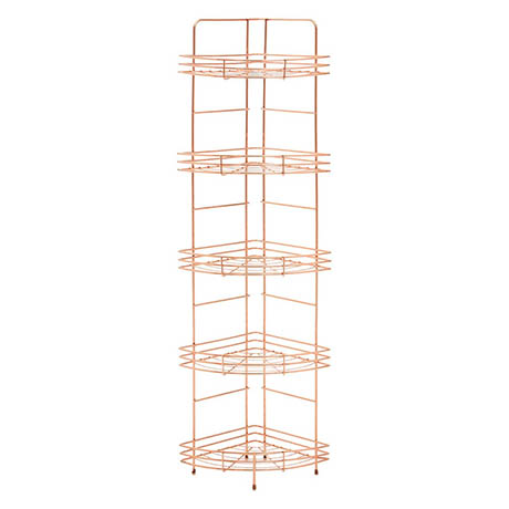 5 Tier Copper Finish Corner Storage Rack