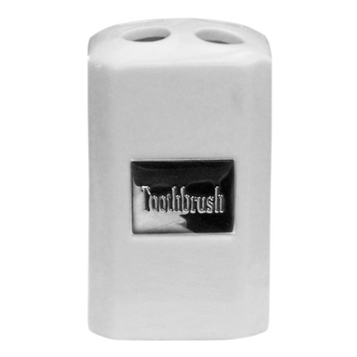 White Ceramic Square Toothbrush Holder w/ Stainless Steel Nameplate - 1601211 profile large image view 1