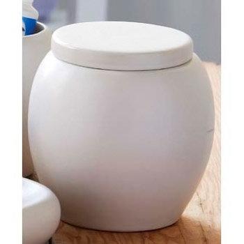 Matt Finish Cream Oval Shaped Storage Jar - 1601218 Large Image