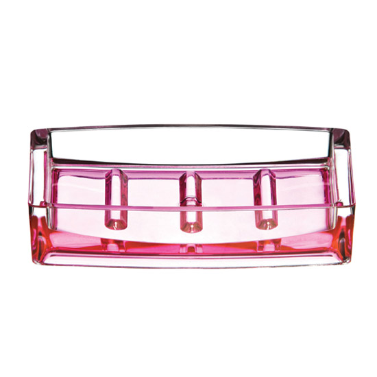 Hot Pink/Clear Acrylic Soap Dish - 1601358 Large Image