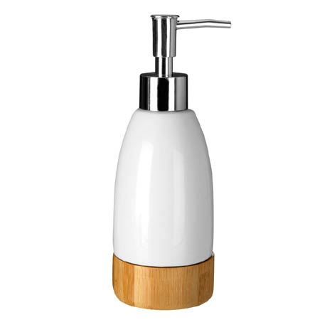 Earth White Dolomite & Bamboo Soap Dispenser - 1601554