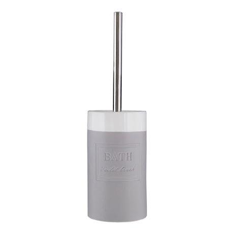 Vida Grey/White Toilet Brush + Holder