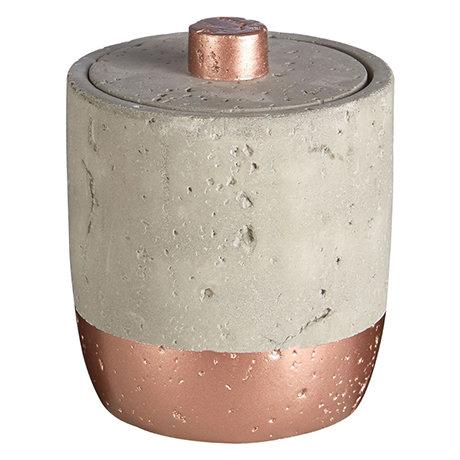 Neptune 400ml Cotton Jar with Lid - Concrete & Copper