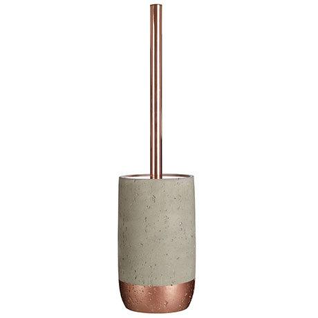 Neptune Toilet Brush Holder - Concrete & Copper