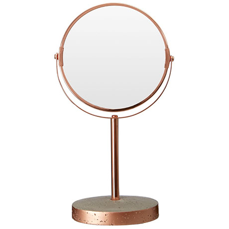 Neptune Round Swivel Bathroom Mirror - Concrete & Copper