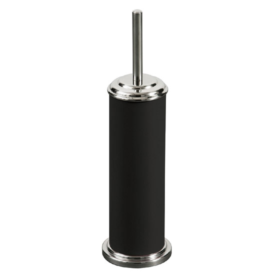 Toilet Brush Holder Cylinder with Chrome Effect - Black - 1602003 profile large image view 1
