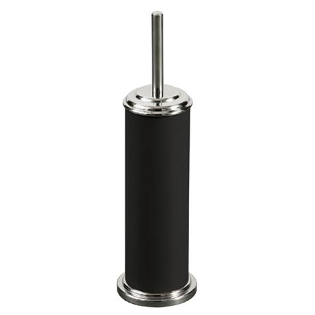 Toilet Brush Holder Cylinder with Chrome Effect - Black - 1602003