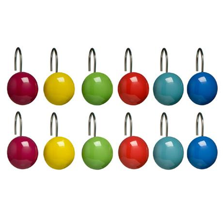 Multi Colour Ceramic Shower Curtain Hooks - 1605210