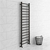 Brooklyn Black Nickel 1600 x 500mm Straight Heated Towel Rail profile small image view 1
