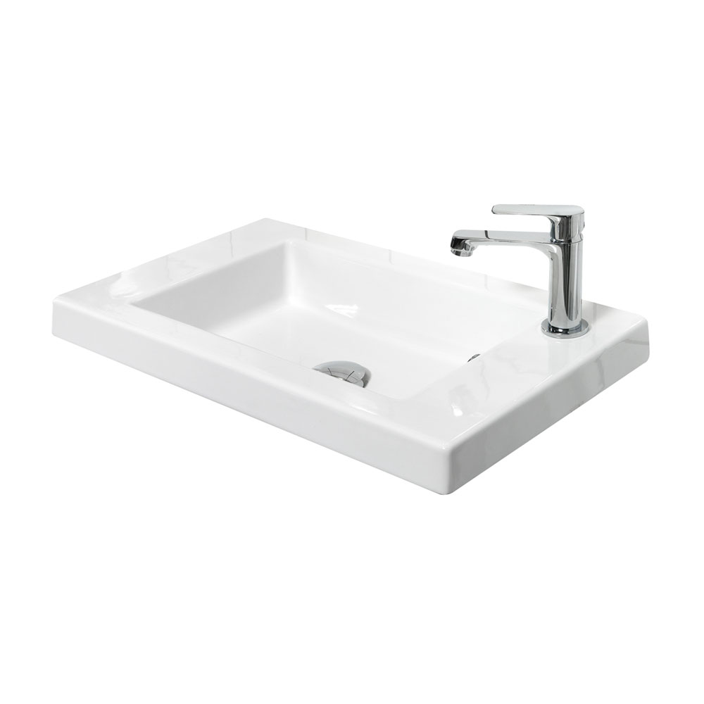 Miller - New York 60 Wall Hung Two Door Vanity Unit with Ceramic Basin - White Feature Large Image