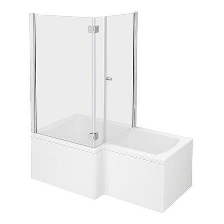 Milan Shower Bath Enclosure - 1600mm L-Shaped Inc. Hinged Screen + Panel
