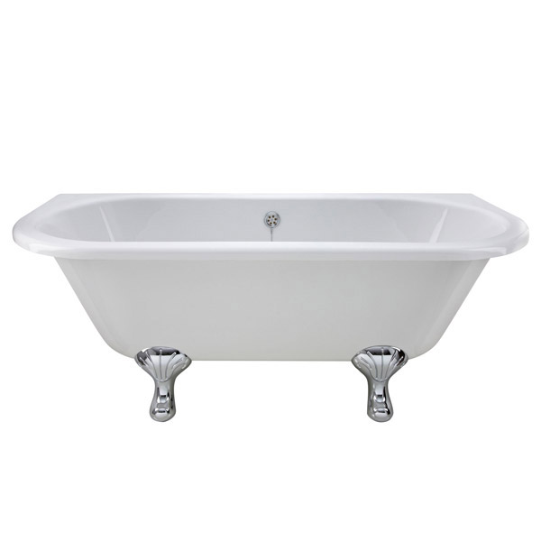 Premier Double Ended Back to Wall Roll Top Bath Inc. Chrome Legs - 1700mm Feature Large Image