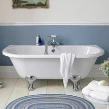 Premier Double Ended Back to Wall Roll Top Bath Inc. Chrome Legs - 1700mm Medium Image