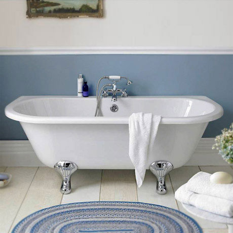 Premier Double Ended Back to Wall Roll Top Bath Inc. Chrome Legs - 1700mm
