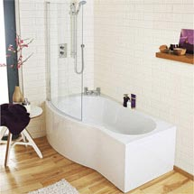 Premier 1700mm B-Shaped Shower Bath with Acrylic Front Panel & Curved Screen Medium Image