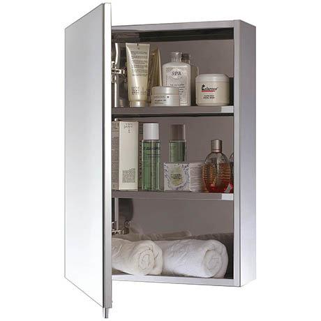 Euroshowers One Door Stainless Steel Mirror Cabinet - 17030