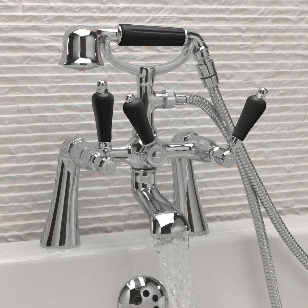 Tre Mercati Victoria Nero Pillar Bath Shower Mixer with Kit - Chrome profile large image view 2
