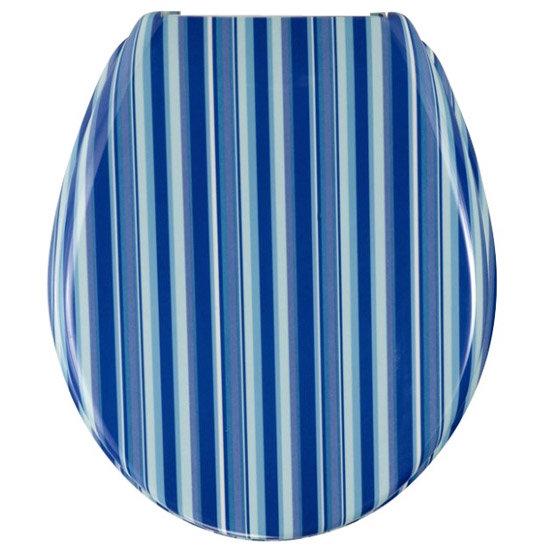 Wenko Blue Stripes Duroplast Toilet Seat 17418100 At