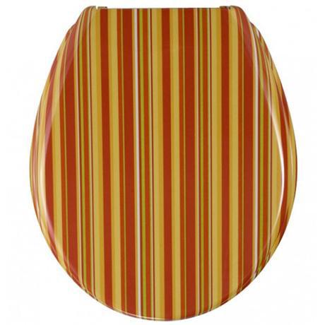 Astounding Wenko Orange Stripes Duroplast Toilet Seat 17423100 At Short Links Chair Design For Home Short Linksinfo