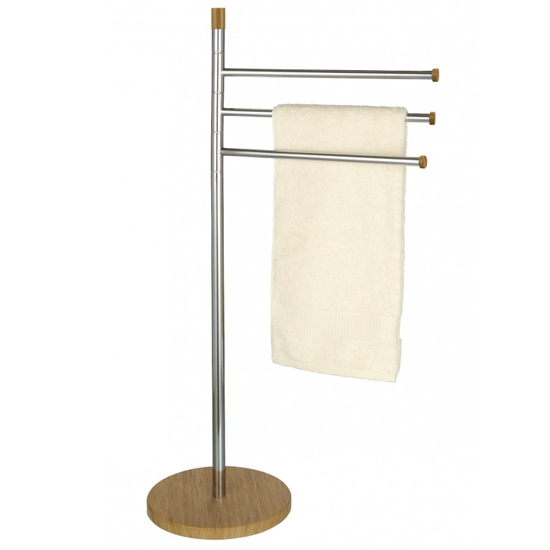 Wenko Bamboo Towel and Clothes Stand - Chrome/Wood - 17645100 - bamboo towel rail cut out image