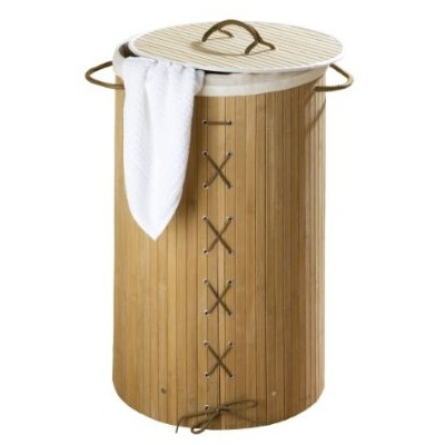 Wenko Bamboo Laundry Bin - Natural - 17753100 - Close up image of bamboo laundry bin