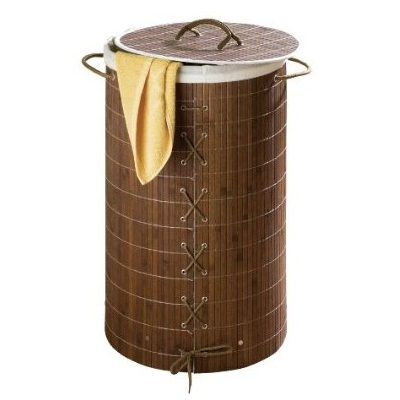 Wenko Dark Brown Bamboo Laundry Bin