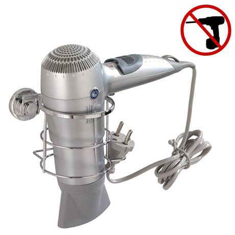 Wenko Bovino Power-Loc Hair Dryer Holder - Stainless Steel - 17798100