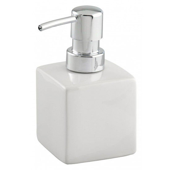 Wenko Square Ceramic Soap Dispenser - White - 17845100 Large Image