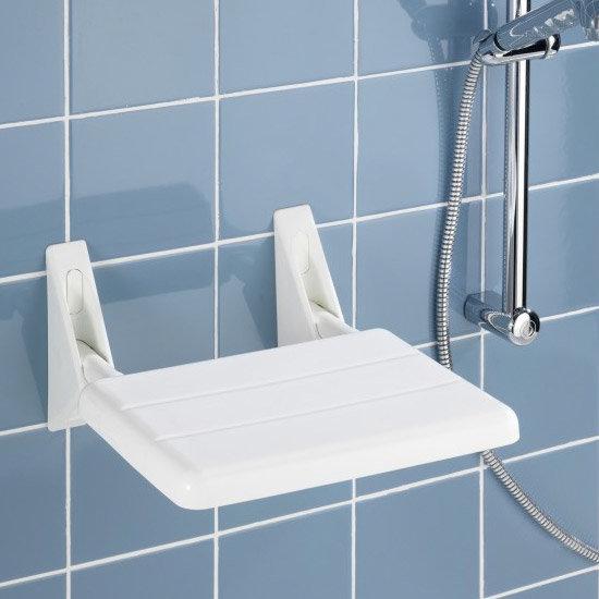 Wenko Secura Folding Shower Seat - White - 17937100 Profile Large Image