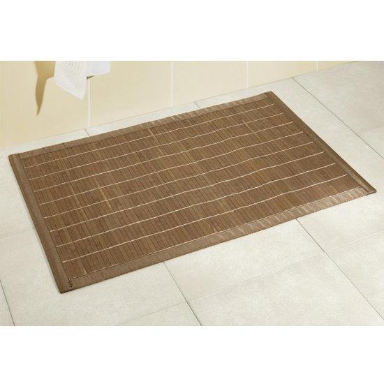 Wenko Bamboo Bath Mat - 500 x 800mm - Dark Brown - 17995100 Profile Large Image
