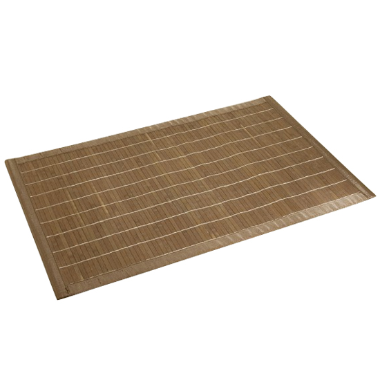 Wenko Bamboo Bath Mat - 500 x 800mm - Dark Brown - 17995100 Large Image